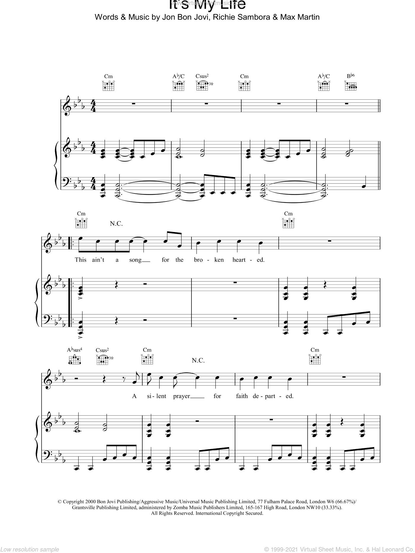 It's My Life sheet music for voice, piano or guitar by Bon Jovi, Ivor Martin, Martin and Richie Sambora, intermediate skill level