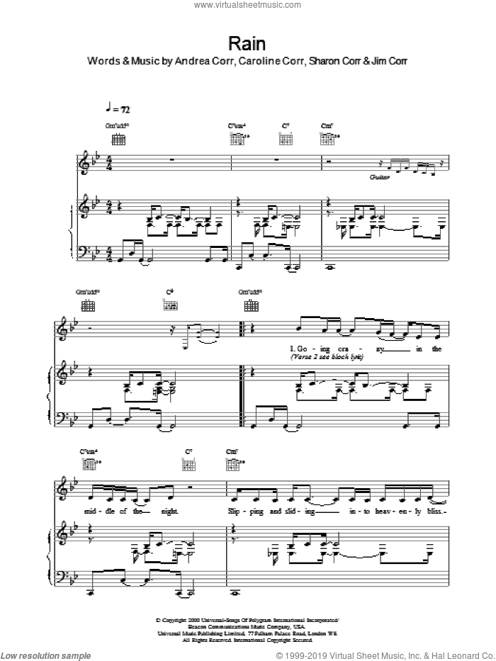 Rain sheet music for voice, piano or guitar by The Corrs. Score Image Preview.