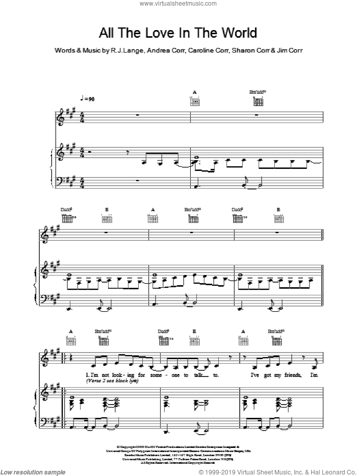 All The Love In The World sheet music for voice, piano or guitar by Robert John Lange and The Corrs. Score Image Preview.
