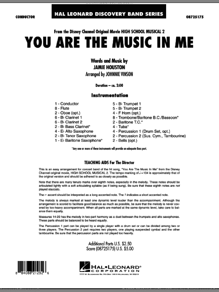 You Are The Music In Me (from High School Musical 2) (COMPLETE) sheet music for concert band by Jamie Houston and Johnnie Vinson, intermediate concert band. Score Image Preview.
