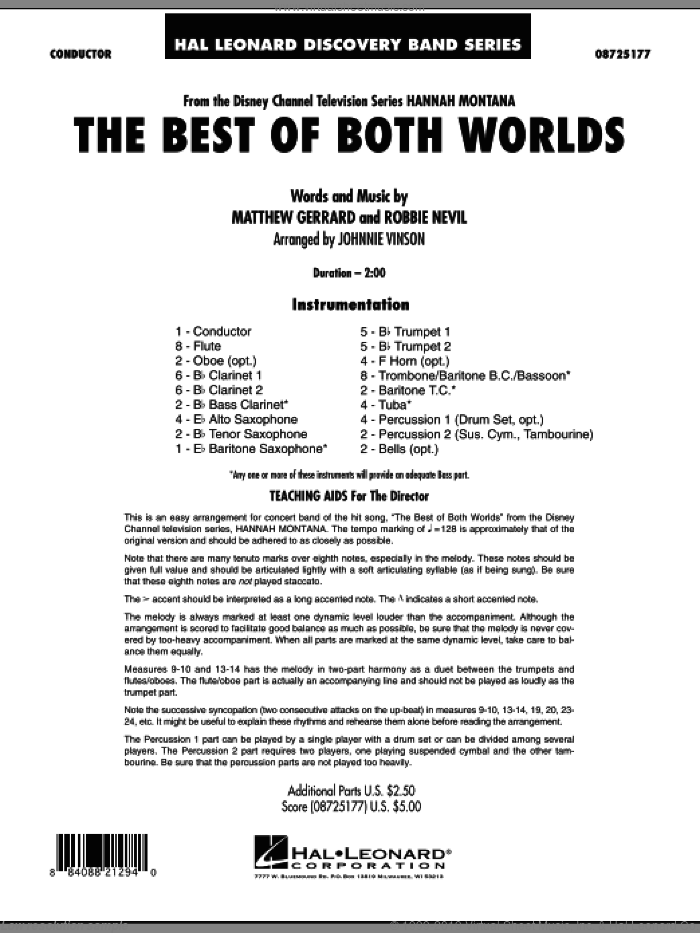The Best Of Both Worlds (Theme from Hannah Montana) (COMPLETE) sheet music for concert band by Matthew Gerrard, Robbie Nevil, Hannah Montana and Johnnie Vinson, intermediate concert band. Score Image Preview.
