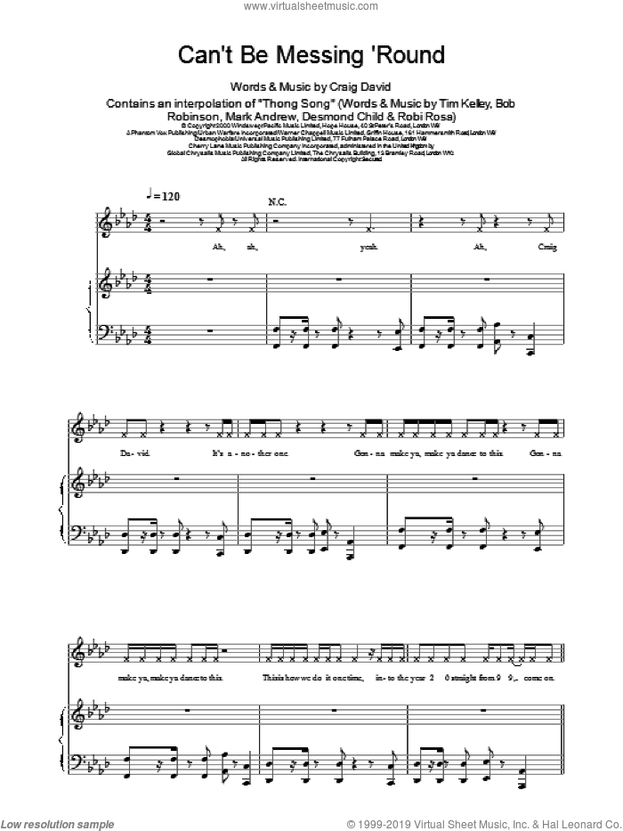 Can't Be Messing 'Round sheet music for voice, piano or guitar by Craig David, intermediate. Score Image Preview.