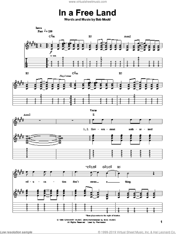 In A Free Land sheet music for guitar (tablature, play-along) by Husker Du and Bob Mould, intermediate
