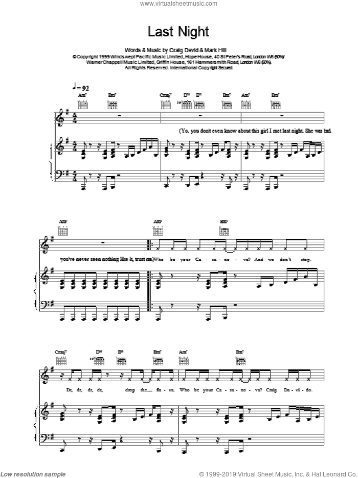 Last Night sheet music for voice, piano or guitar by Mark Hill, Craig David and Hal David. Score Image Preview.