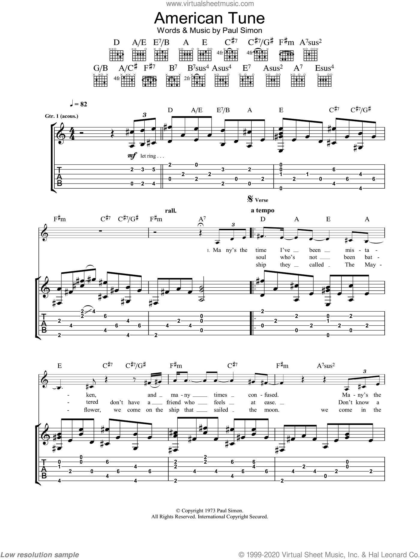 American Tune sheet music for guitar (tablature) by Eva Cassidy and Paul Simon, intermediate. Score Image Preview.
