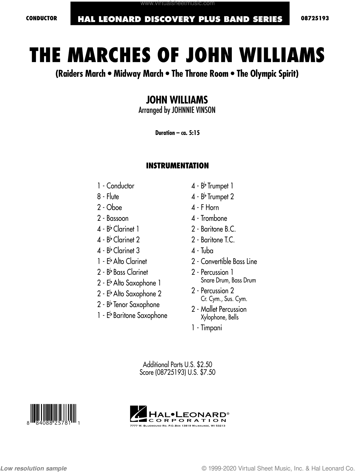 The Marches of John Williams sheet music for concert band (full score) by John Williams