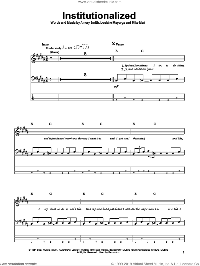 Institutionalized sheet music for bass (tablature) (bass guitar) by Mike Muir. Score Image Preview.