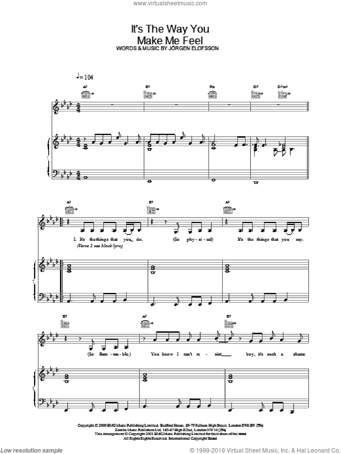 It's The Way You Make Me Feel sheet music for voice, piano or guitar by Steps and Jorgen Elofsson, intermediate voice, piano or guitar. Score Image Preview.