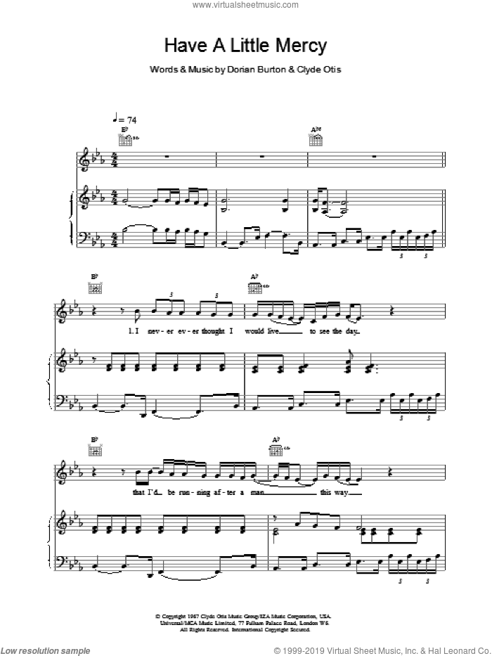 Have A Little Mercy sheet music for voice, piano or guitar by Dorian & Otis, Clyde Burton