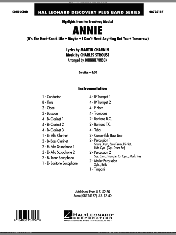 Highlights from Annie (COMPLETE) sheet music for concert band by Charles Strouse, Martin Charnin and Johnnie Vinson, intermediate skill level