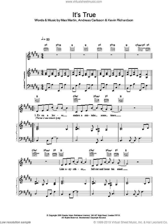 It's True sheet music for voice, piano or guitar by Max Martin, Backstreet Boys, Andreas Carlsson and Kevin Richardson. Score Image Preview.
