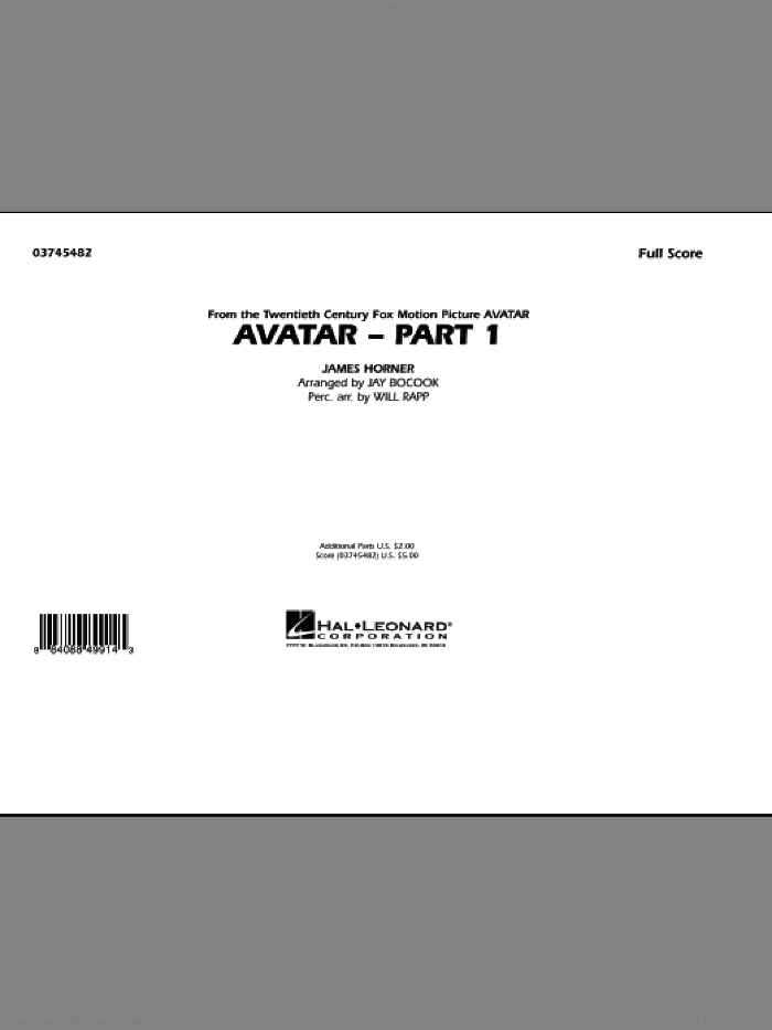 Avatar: Part 1 (COMPLETE) sheet music for marching band by James Horner, Jay Bocook and Will Rapp, intermediate marching band. Score Image Preview.