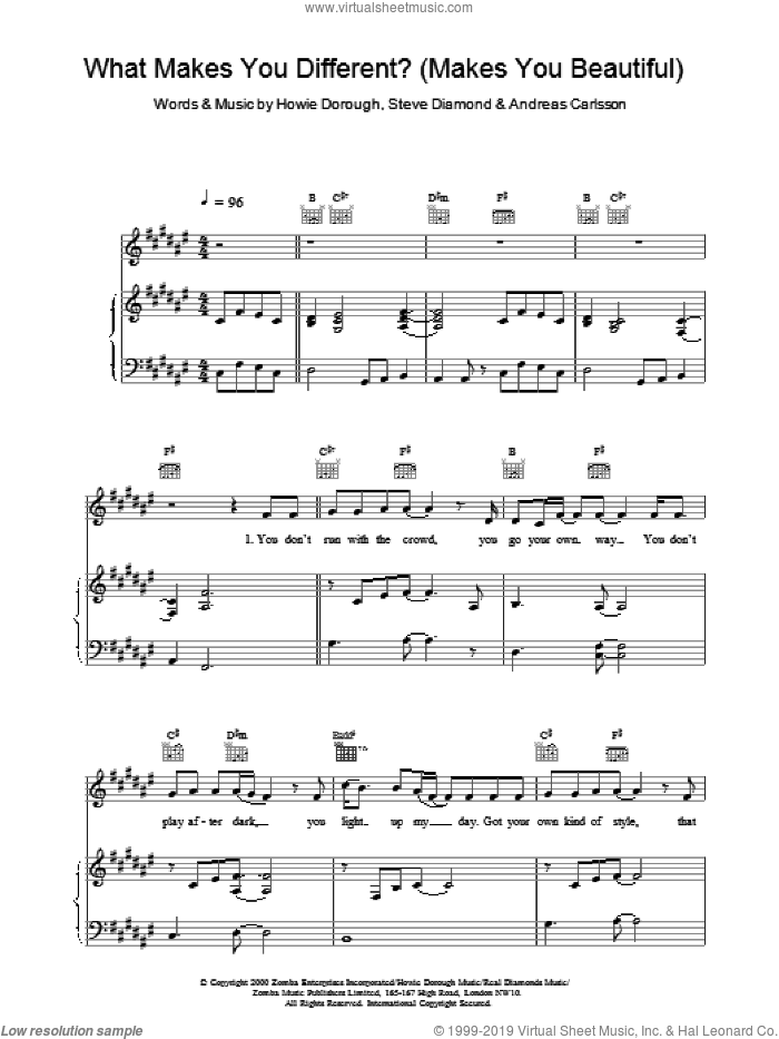 What Makes You Different? (Makes You Beautiful) sheet music for voice, piano or guitar by Backstreet Boys, Andreas Carlsson and Steve Diamond. Score Image Preview.