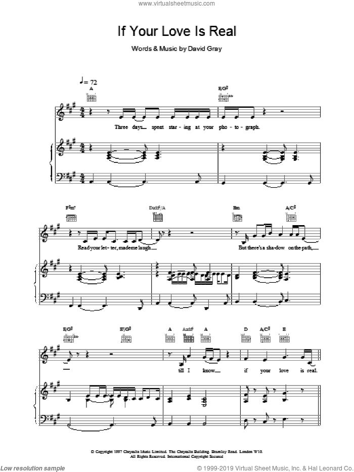 If Your Love Is Real sheet music for voice, piano or guitar by David Gray. Score Image Preview.