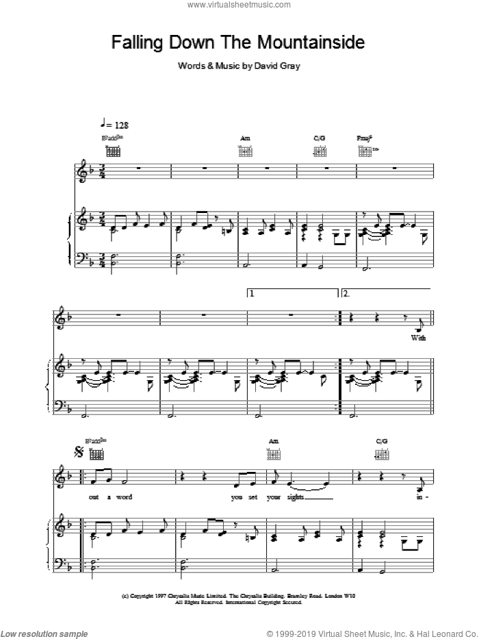 Falling Down The Mountainside sheet music for voice, piano or guitar by David Gray. Score Image Preview.