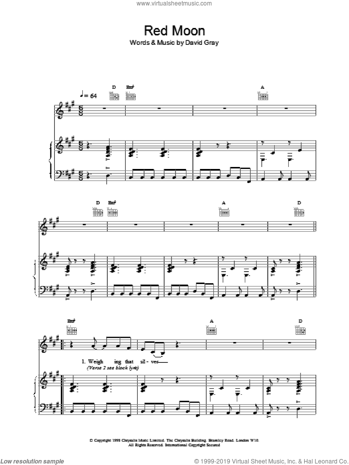 Red Moon sheet music for voice, piano or guitar by David Gray. Score Image Preview.