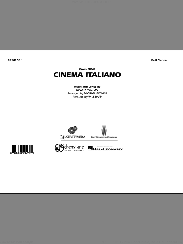 Cinema Italiano (from Nine) sheet music for marching band (full score) by Maury Yeston