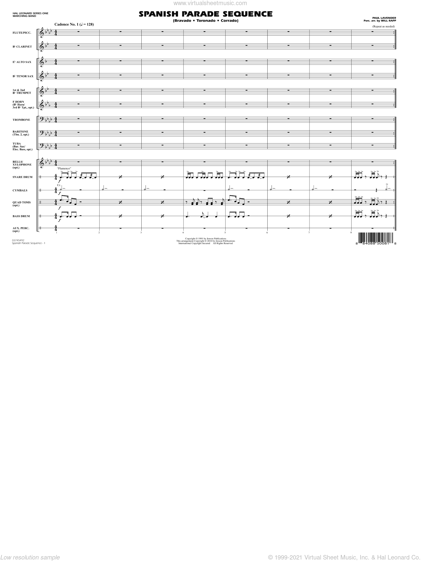 Spanish Parade Sequence sheet music for marching band (full score) by Paul Lavender