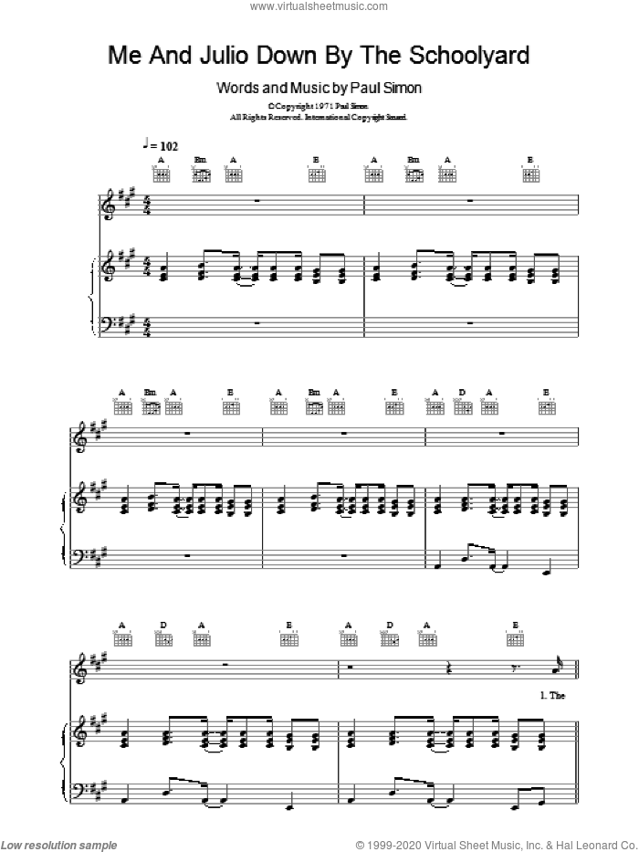 Me And Julio Down By The Schoolyard sheet music for voice, piano or guitar by Paul Simon. Score Image Preview.