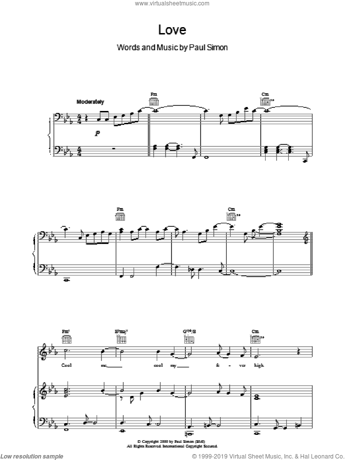 Love sheet music for voice, piano or guitar by Paul Simon. Score Image Preview.