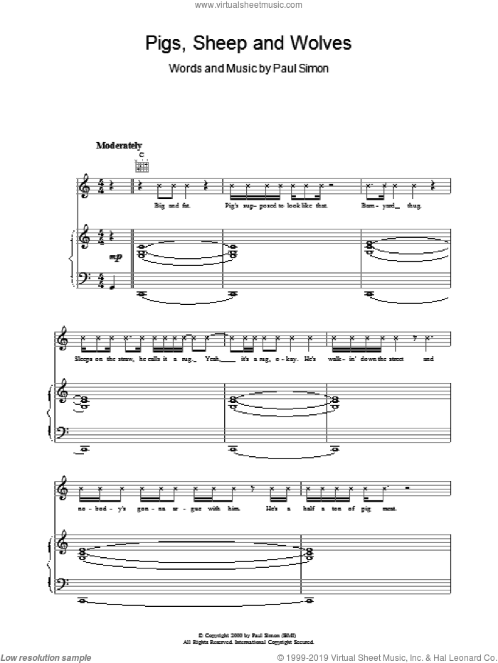 Pigs, Sheep And Wolves sheet music for voice, piano or guitar by Paul Simon, intermediate skill level