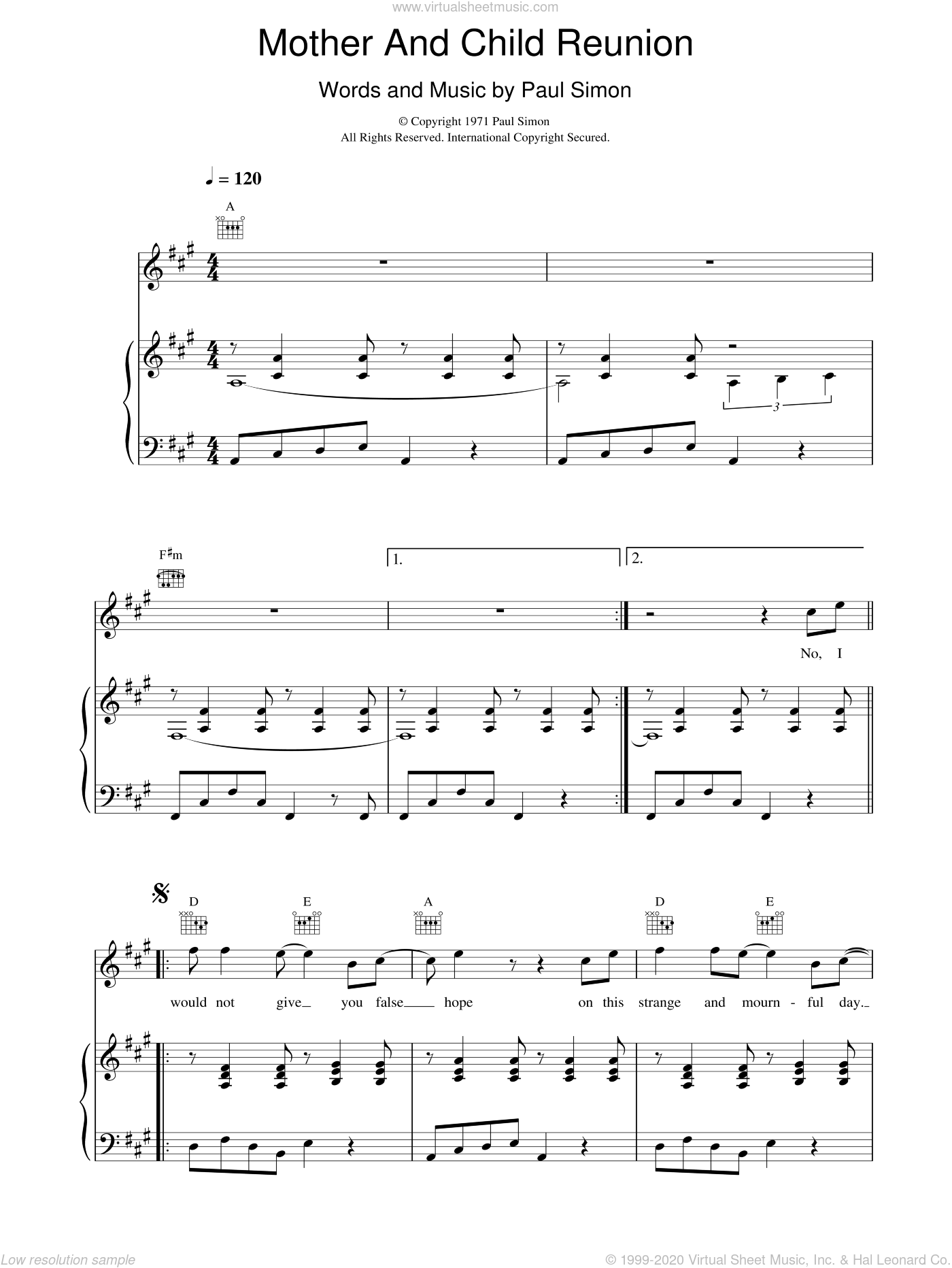 Mother And Child Reunion sheet music for voice, piano or guitar by Paul Simon
