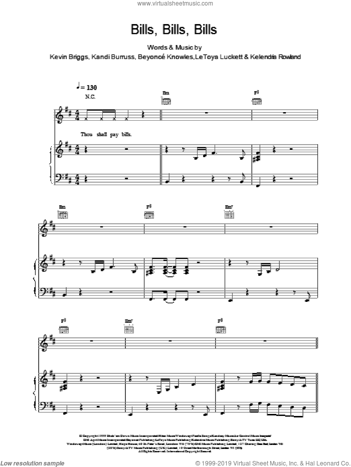 Bills, Bills, Bills sheet music for voice, piano or guitar by Destiny's Child, Beyonce, Kandi Burruss, Kevin Briggs and Knowles,Beyoncé, intermediate skill level