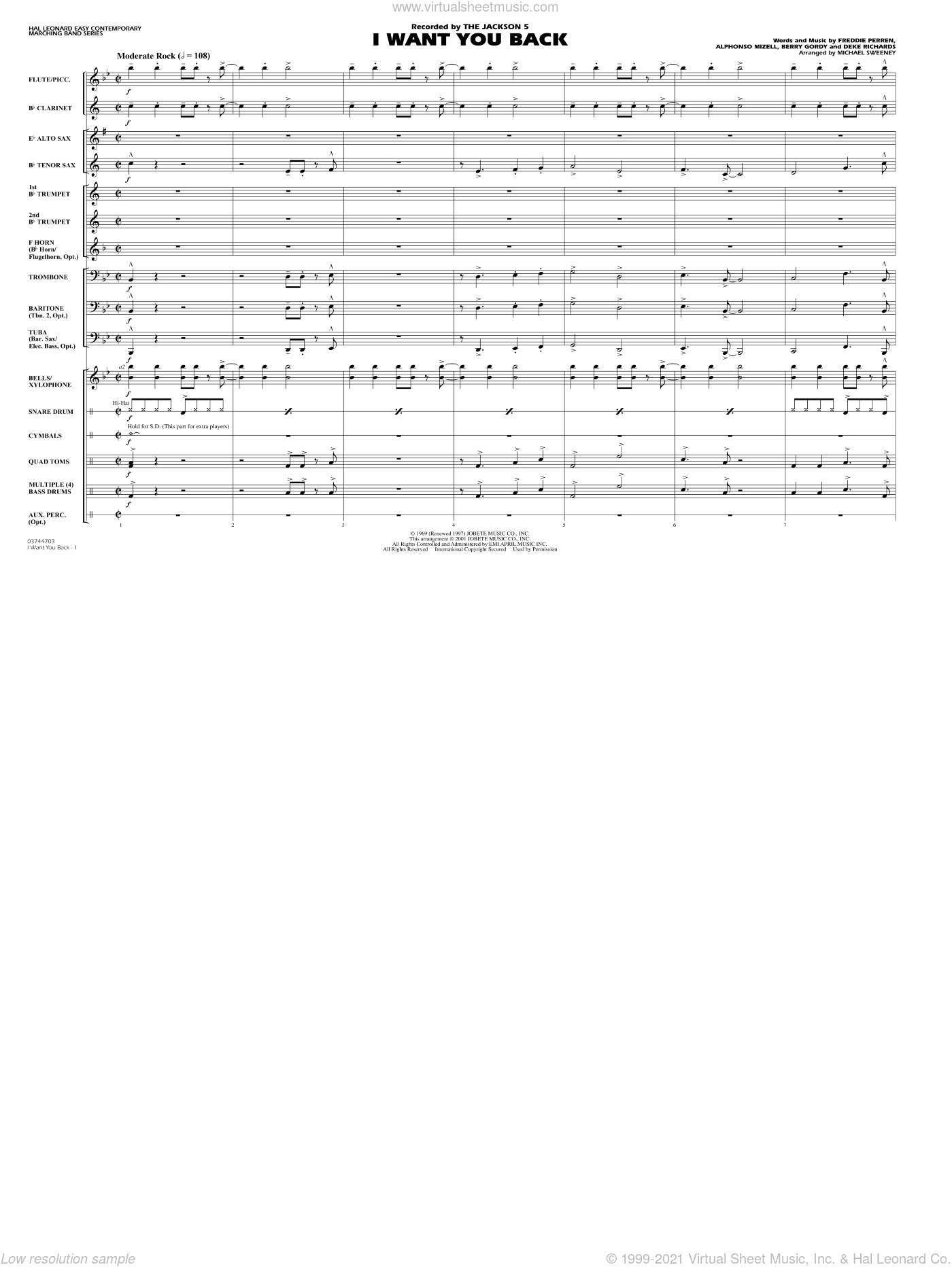 I Want You Back sheet music for marching band (full score) by Alphonso Mizell