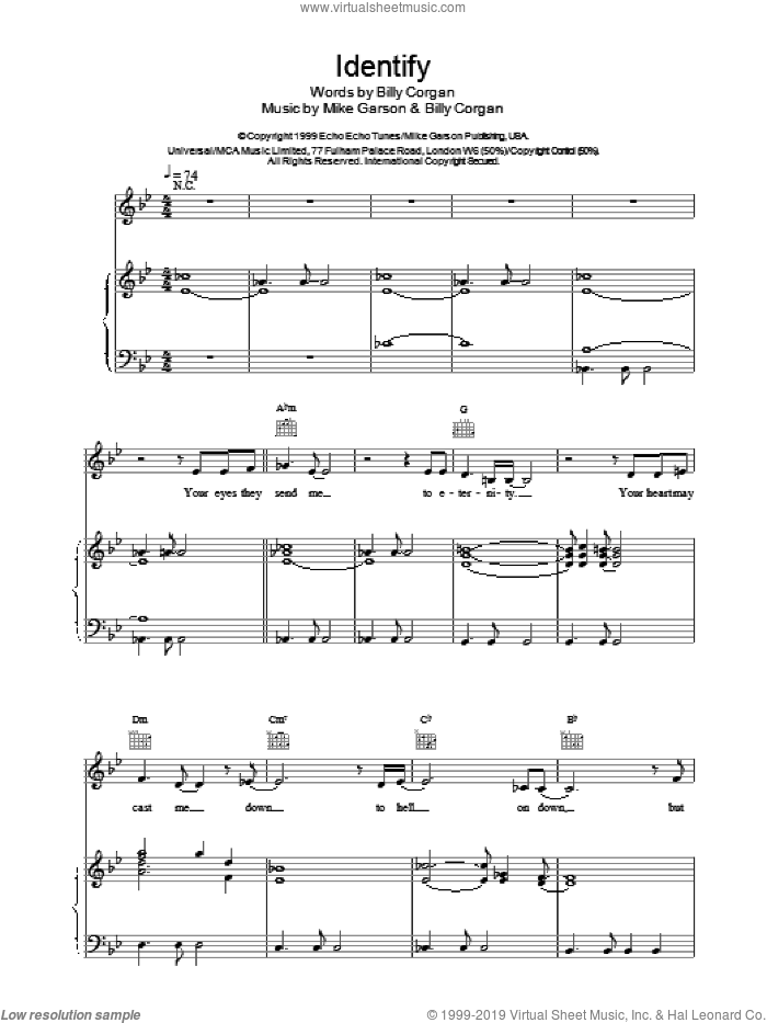 Identify sheet music for voice, piano or guitar by Mike Garson, Natalie Imbruglia and Billy Corgan. Score Image Preview.