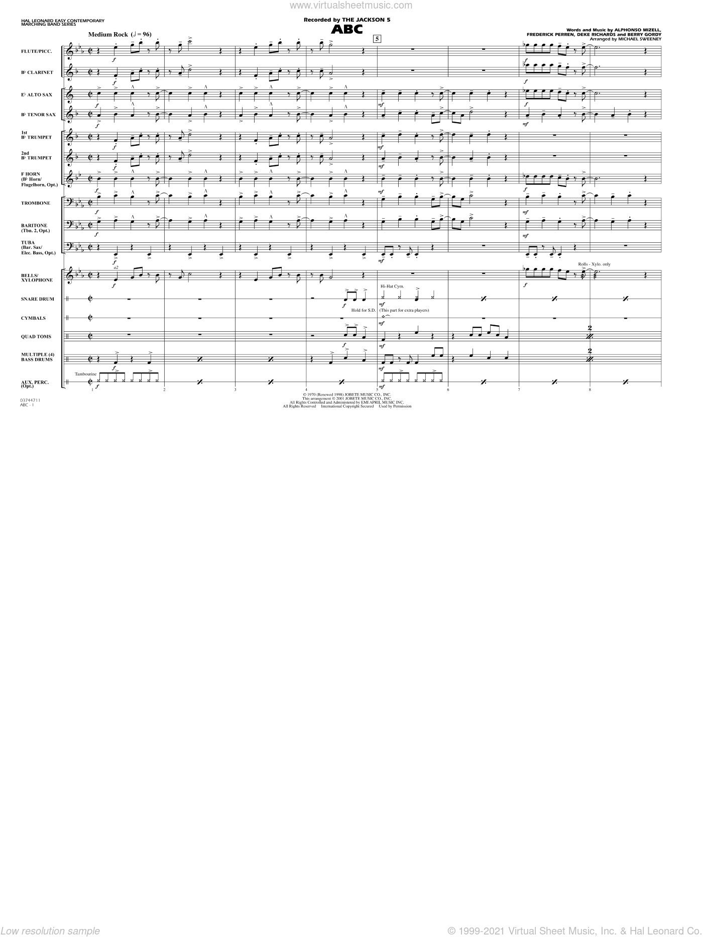 ABC sheet music for marching band (full score) by Alphonso Mizell