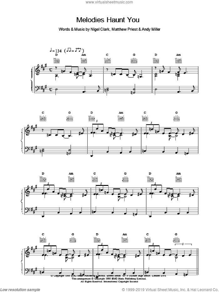 Melodies Haunt You sheet music for voice, piano or guitar