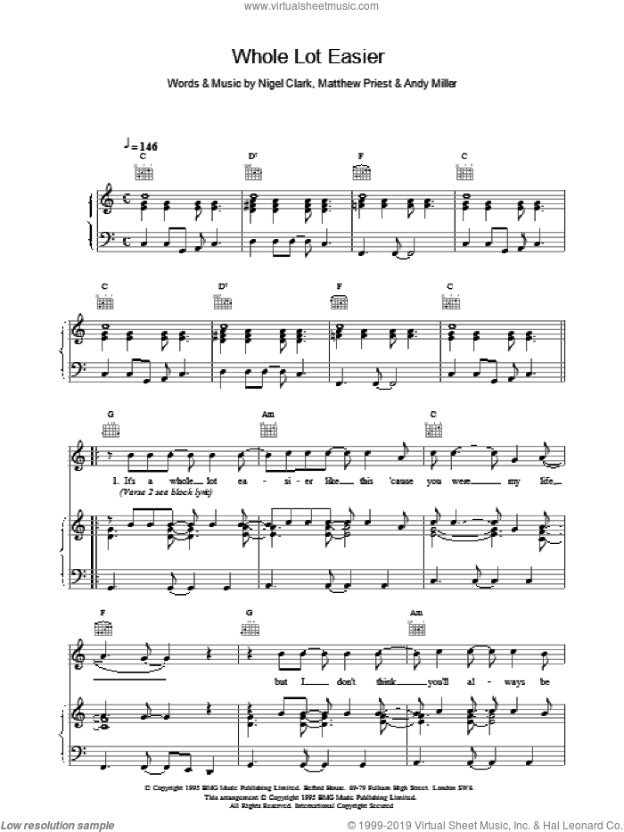 Whole Lot Easier sheet music for voice, piano or guitar