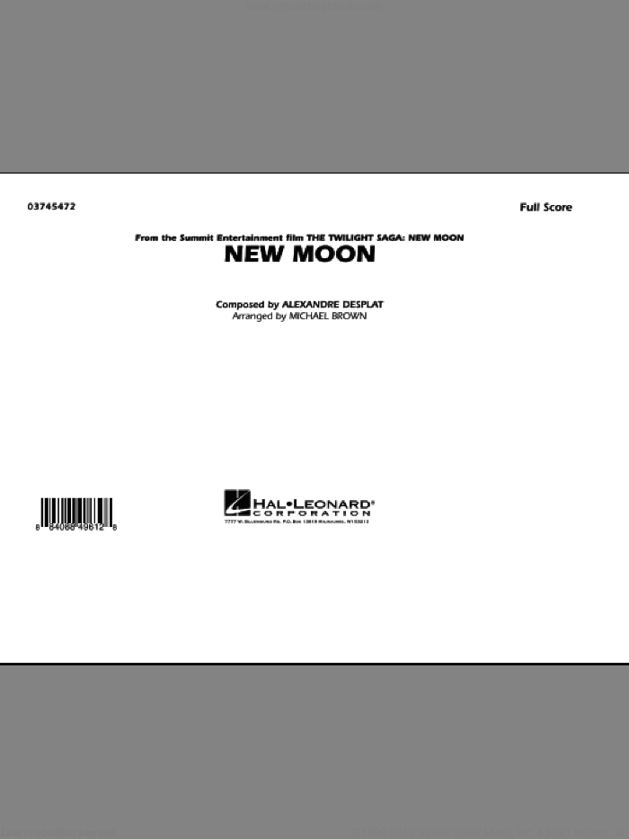 New Moon (The Meadow) (COMPLETE) sheet music for marching band by Alexandre Desplat and Michael Brown. Score Image Preview.