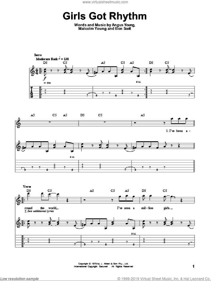 Girls Got Rhythm sheet music for guitar (tablature, play-along) by AC/DC, intermediate. Score Image Preview.