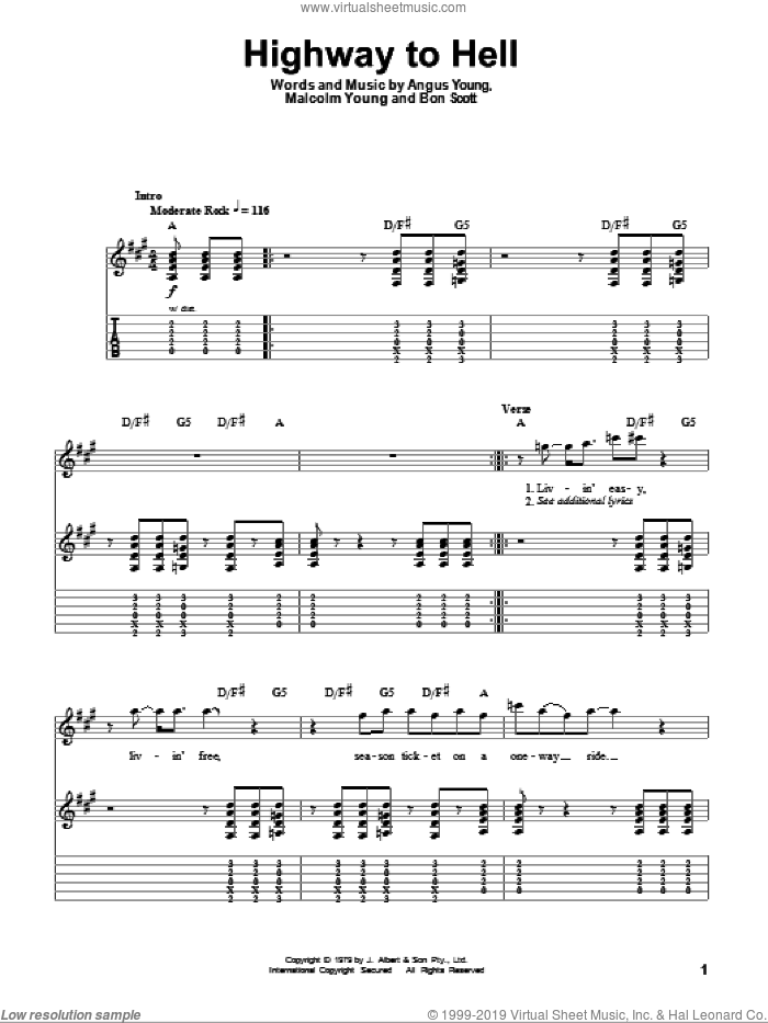 Highway To Hell sheet music for guitar (tablature, play-along) by Malcolm Young, AC/DC and Angus Young. Score Image Preview.