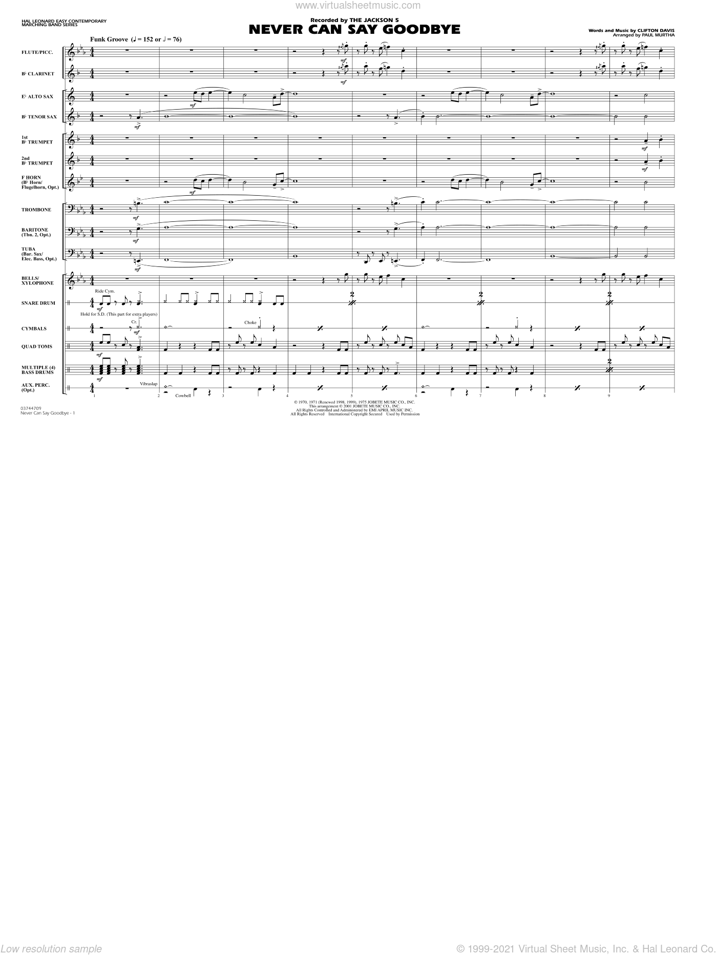 Never Can Say Goodbye sheet music for marching band (full score) by Clifton Davis