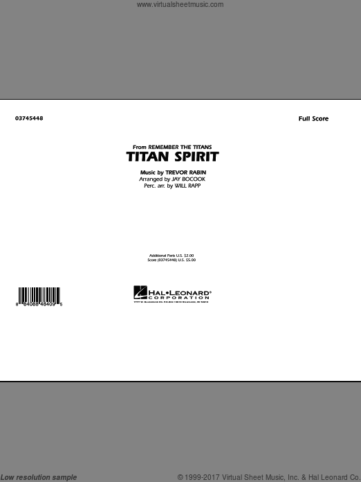 Titan Spirit (Theme from Remember The Titans) (COMPLETE) sheet music for marching band by Trevor Rabin