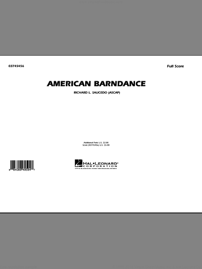 American Barndance sheet music for marching band (full score) by Richard L. Saucedo