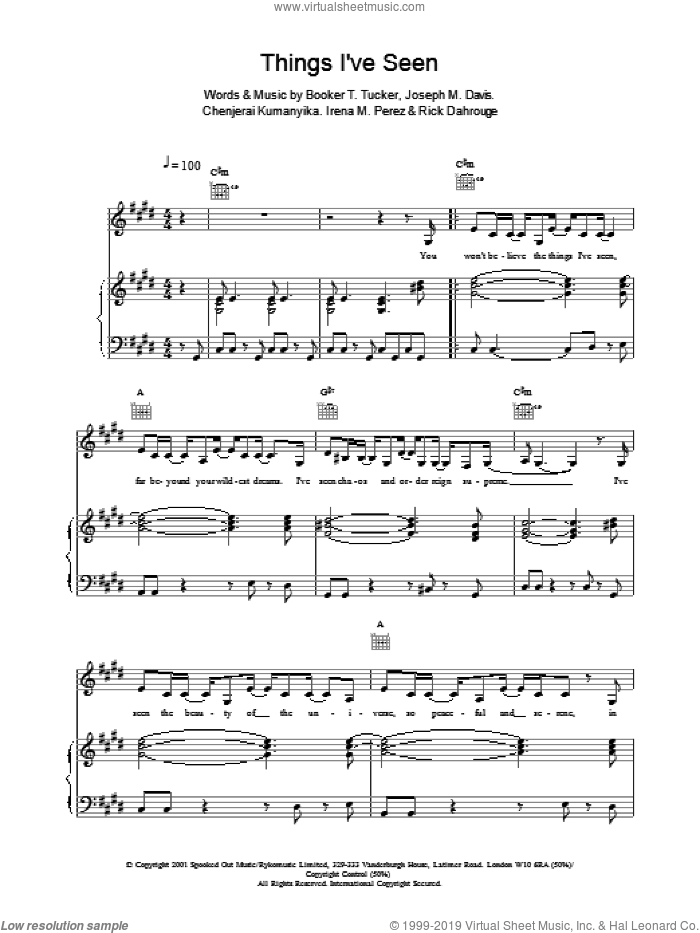 Things I've Seen sheet music for voice, piano or guitar by Spooks, Booker T. Tucker, Chenjerai Kumanyika and Joseph M Davis, intermediate skill level