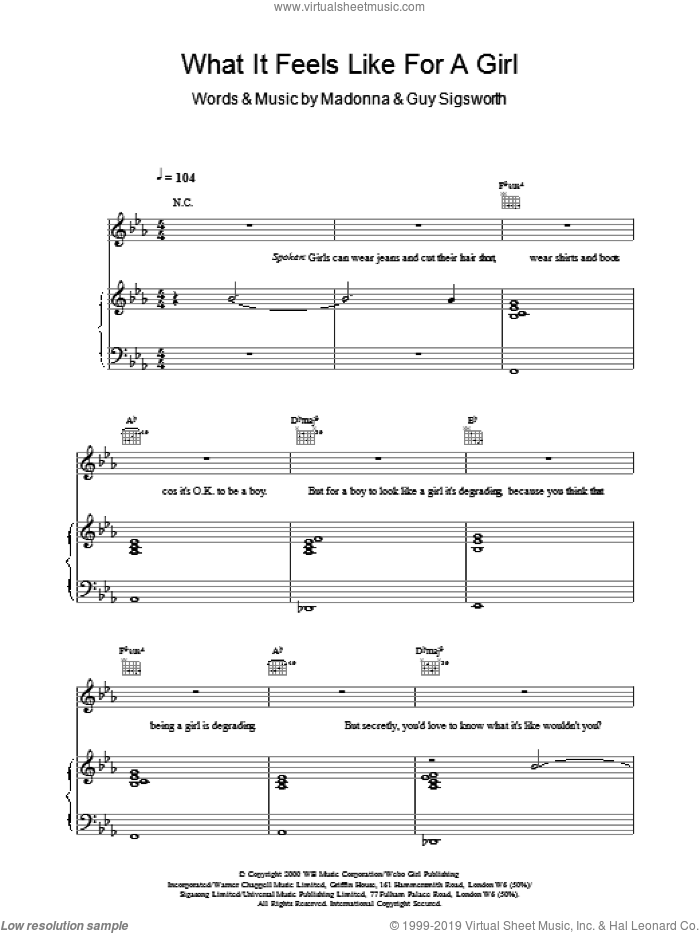 What It Feels Like For A Girl sheet music for voice, piano or guitar by Guy Sigsworth and Madonna. Score Image Preview.