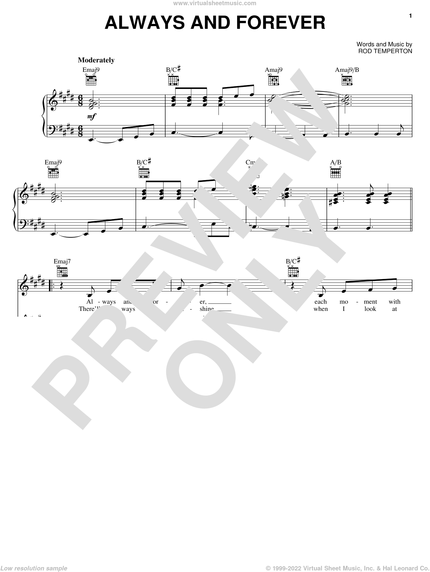 Always And Forever sheet music for voice, piano or guitar by Rod Temperton