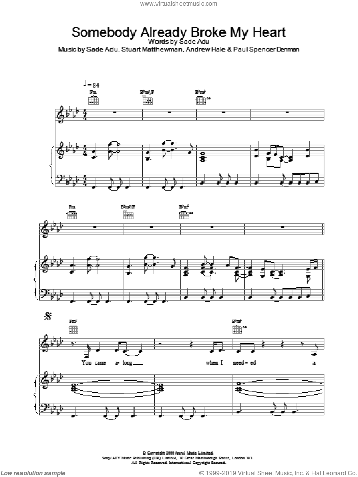Somebody Already Broke My Heart sheet music for voice, piano or guitar by Stuart Matthewman
