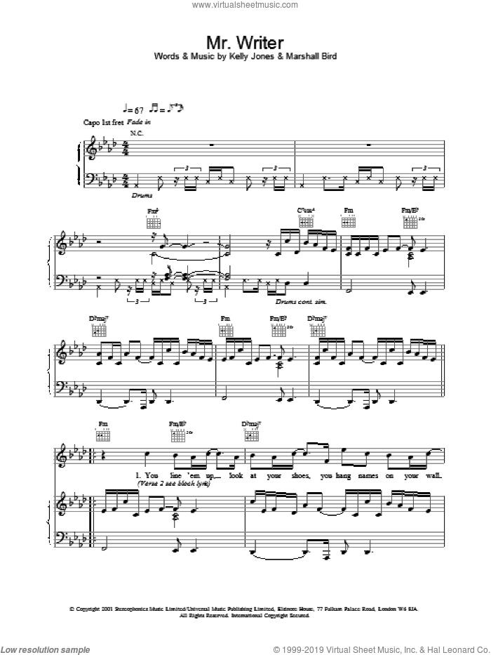 Mr. Writer sheet music for voice, piano or guitar by Marshall Bird, Stereophonics and Kelly Jones. Score Image Preview.