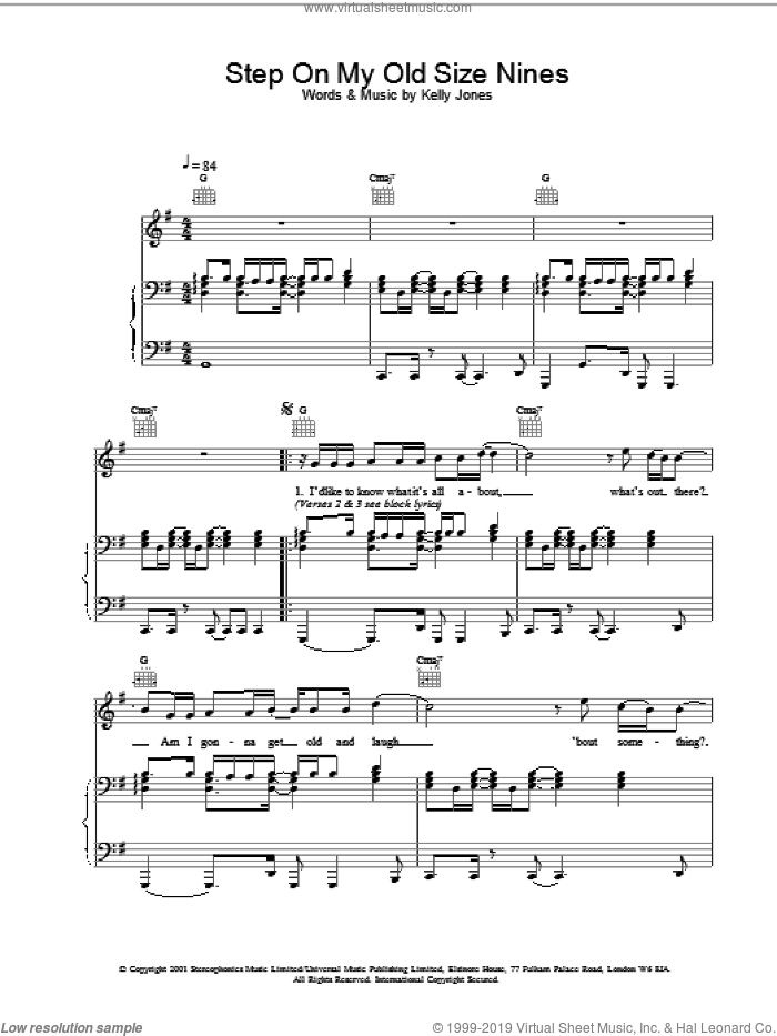 Step On My Old Size Nines sheet music for voice, piano or guitar by Stereophonics and Kelly Jones, intermediate. Score Image Preview.
