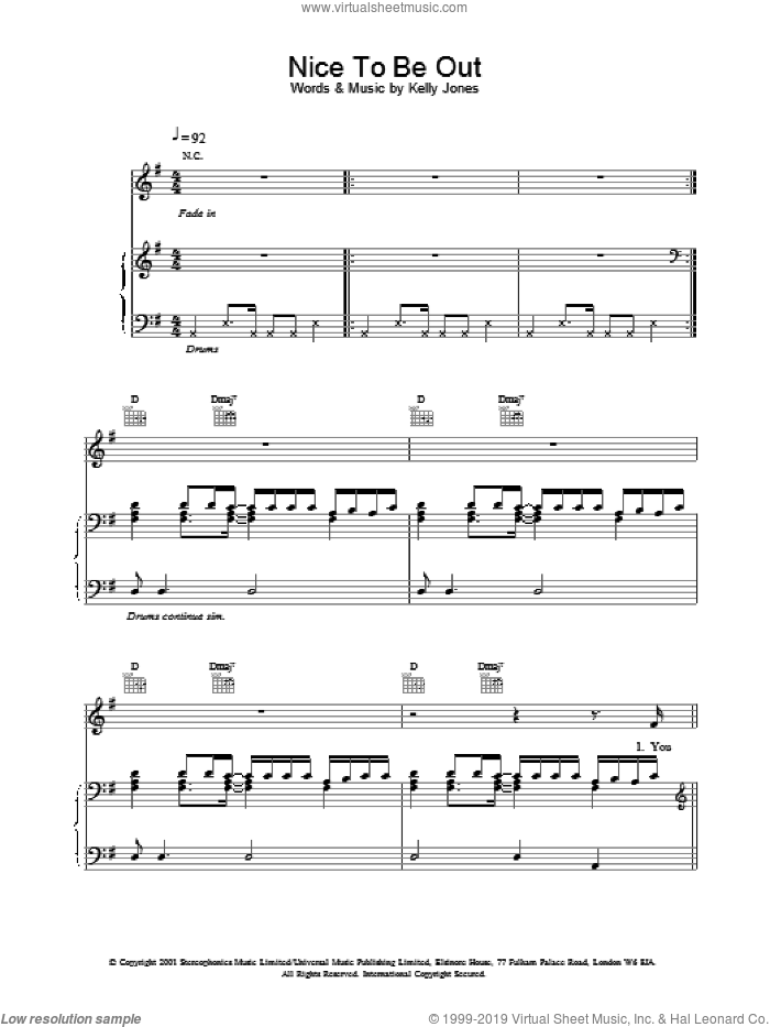 Nice To Be Out sheet music for voice, piano or guitar by Stereophonics and Kelly Jones, intermediate skill level
