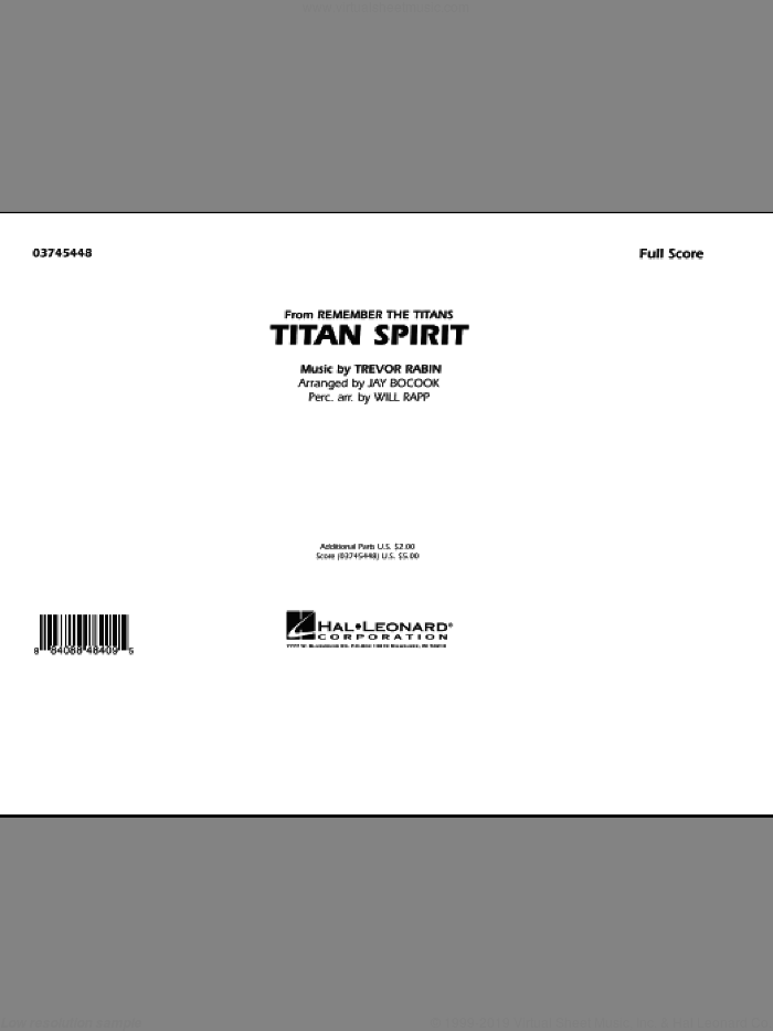 Titan Spirit (Theme from Remember The Titans) (COMPLETE) sheet music for marching band by Trevor Rabin, Jay Bocook and Will Rapp, intermediate. Score Image Preview.