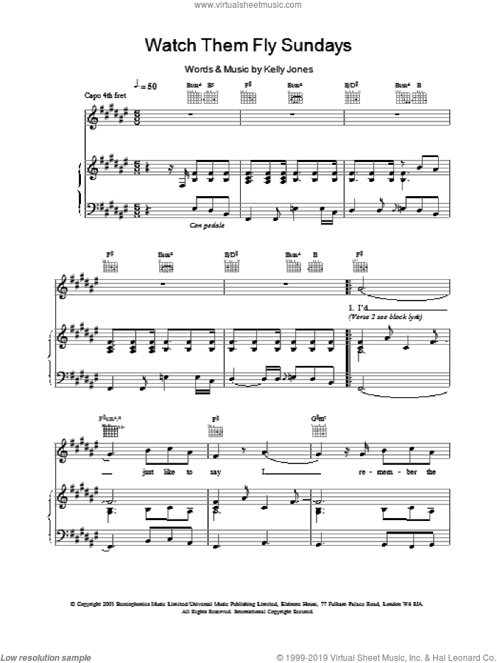 Watch Them Fly Sundays sheet music for voice, piano or guitar by Stereophonics and Kelly Jones, intermediate. Score Image Preview.