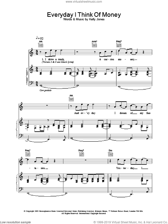 Everyday I Think Of Money sheet music for voice, piano or guitar by Kelly Jones and Stereophonics. Score Image Preview.