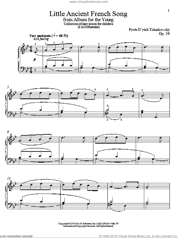 Little Ancient French Song sheet music for piano solo by Pyotr Ilyich Tchaikovsky