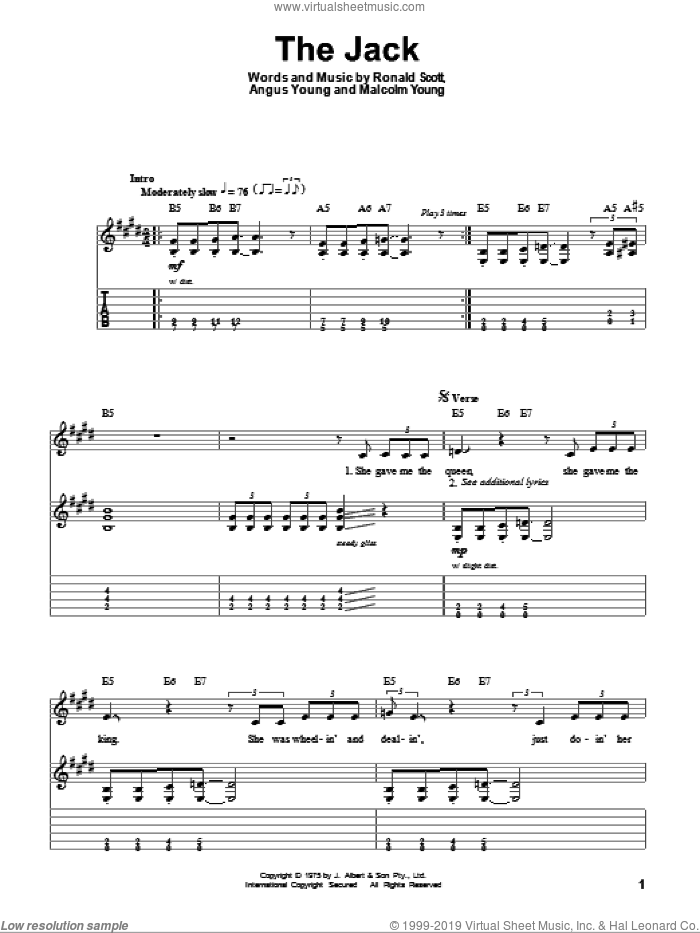 The Jack sheet music for guitar (tablature, play-along) by Ronnie Scott, AC/DC, Angus Young and Malcolm Young. Score Image Preview.